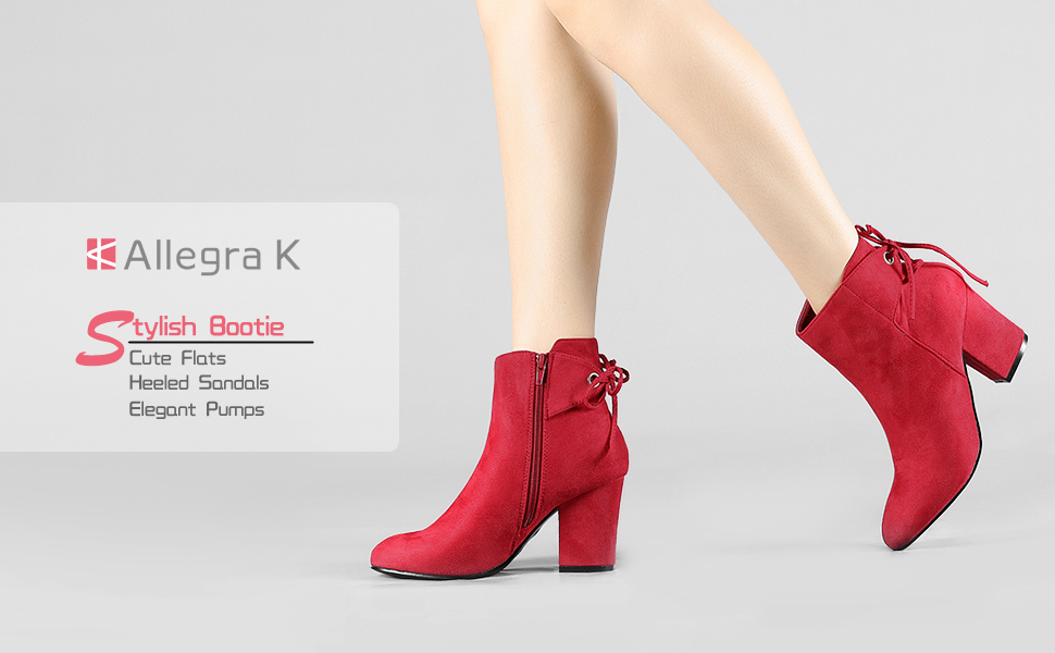 Allegra K Women's Round Toe Block Heel Zipper Ankle Boots