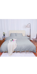 bowknot duvet cover bedding sets with pillow shams solid color new style
