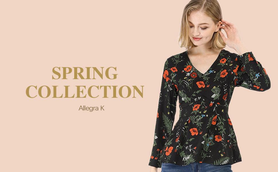 3fd91a144a858d Allegra K Women s V Neck Long Sleeve Peplum Floral Print Blouse Top ...