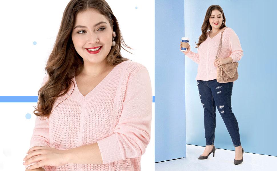 15384752c6a31 Agnes Orinda Women s Plus Size Cable Knit Long Sleeve V Neck Sweater