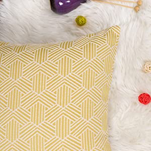 Geometric Chevron Printed Cushion Cover with Matched Piping Edges
