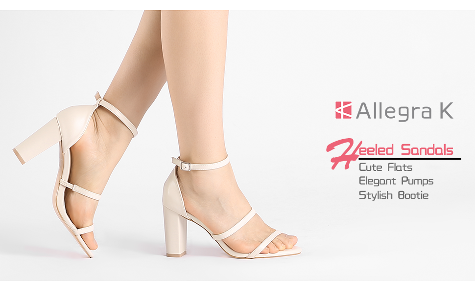dfa5479ddbc Allegra K Women's Double Straps Chunky Heel Sandals