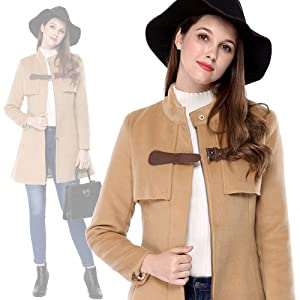 Women Band Collar Buckle Fastening Worsted Caped Flare Coat