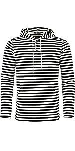 """""""Striped Henley Hoodie, Lightweight Long Sleeve Hoodies, Casual Shirt Hoodies"""""""