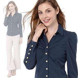 93bbf5d7f61 Allegra K Women s Point Collar Ruched Long Sleeve Button Decor Cuffs Shirt