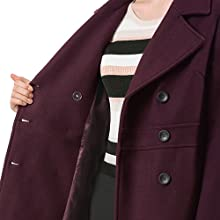 Allegra K Women's Notched Laple Double Breasted Trench Coat