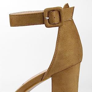 Allegra K Women's Chunky High Heel Ankle Strap Sandals (Size US 5.5) Light Pink