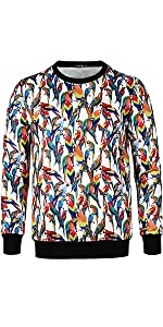 Crew Neck Parrot Casual Pullover,animal pullover