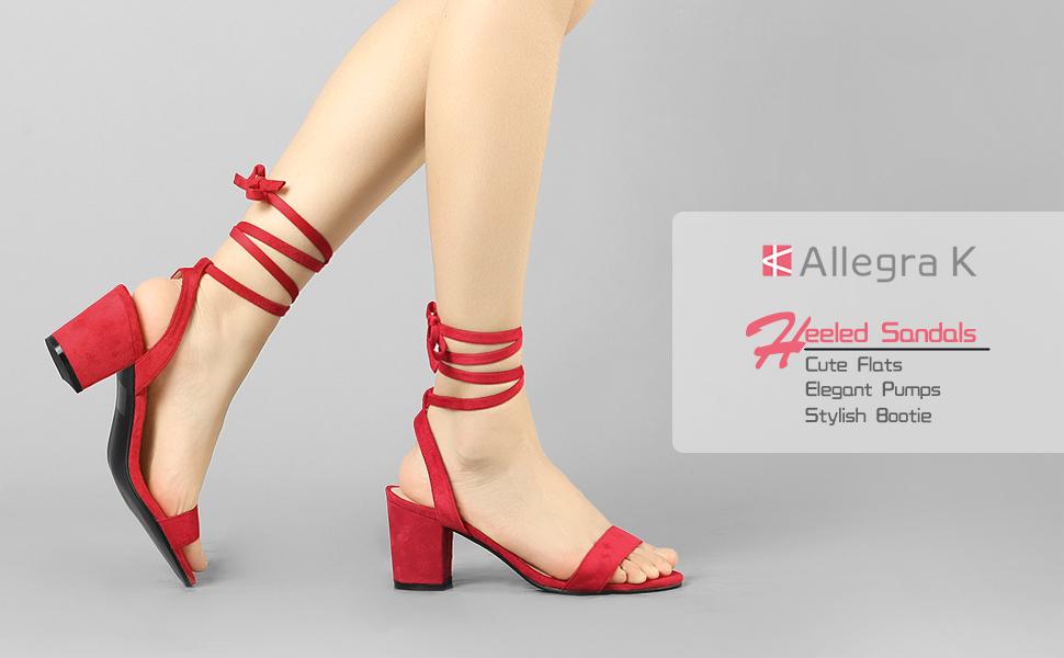 Allegra K Women's Ankle Tie Slingback