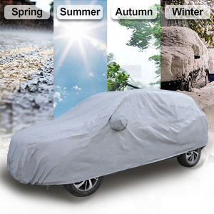 uxcell 2XXL Silver Tone 190T Car Cover Outdoor Weather Waterproof Scratch Rain Snow Heat Resistant w Mirror Pocket 480 x 190 x 180cm