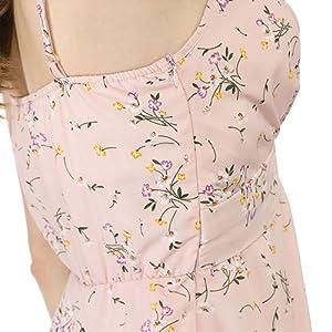 Allegra K Women's Summer Floral Spaghetti Strap Swing Keen Length Dress