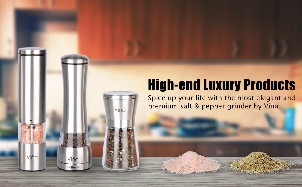 Salt Pepper Grinder Stainless Steel Salt and Pepper Mills with One Hand Stands Mini Thumb Push for Peppercorns Himalayan Salt Spices /& Table Seasoning Sea Salt