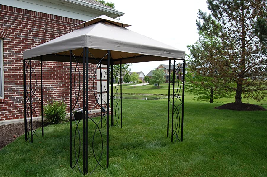 Matte Black Steel Frame Gazebo with High-Grade 300D Polyester Canopy with Windvent & Amazon.com : 8u0027 x 8u0027 Steel Frame Gazebo with High-Grade 300D ...