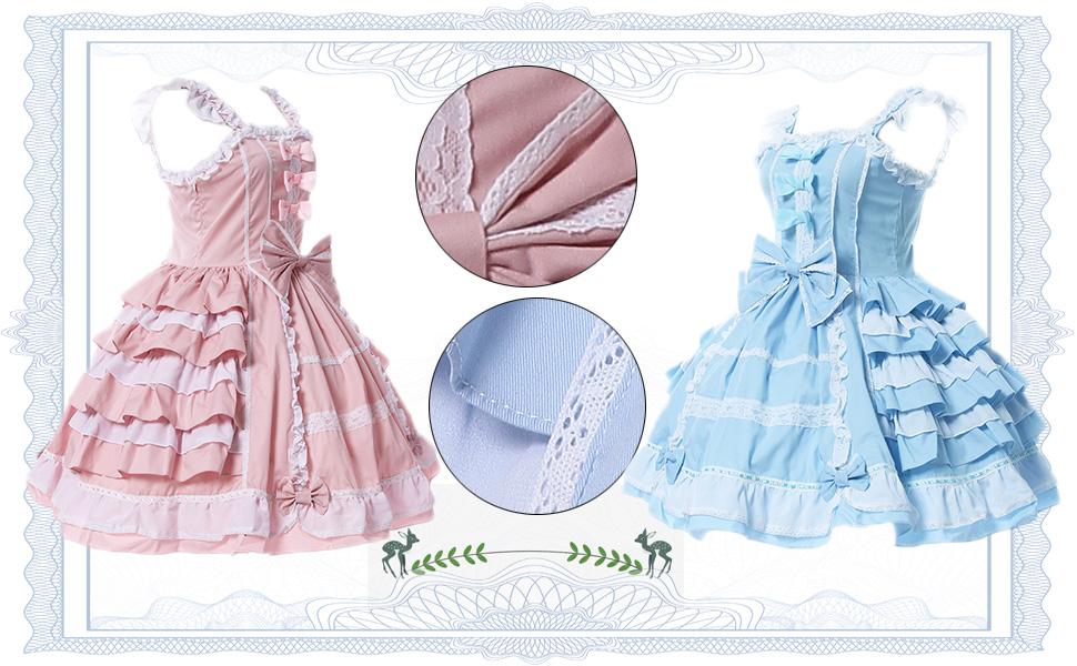 0e084150b376c Nuoqi Girls Sweet Lolita Dress Princess Lace Court Skirts Cosplay Costumes