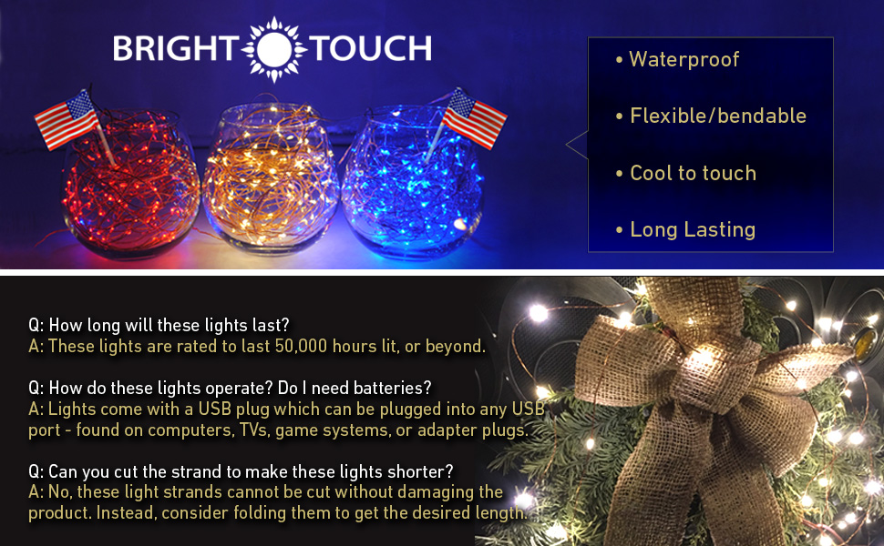brighttouch led copper light strings 100 leds 10m33ft decorative string light with usb