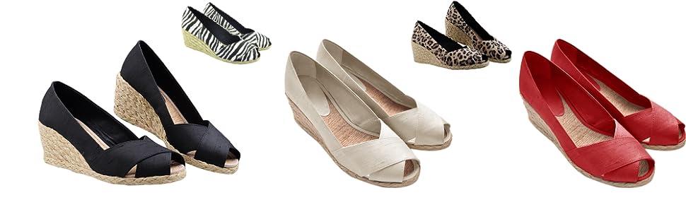 espadrile slip on wedge sandals open toe pumps