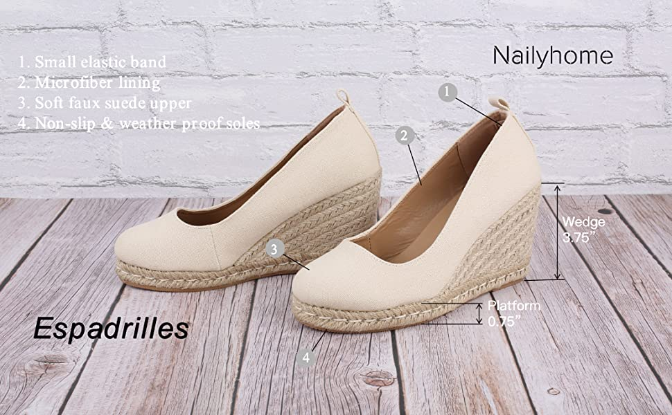 espadrille slip on wedge sandals