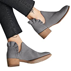 595da6d068ecd Womens Cutout Slip On Ankle Booties Ruffle Chunky Low Heel Round Toe Boots