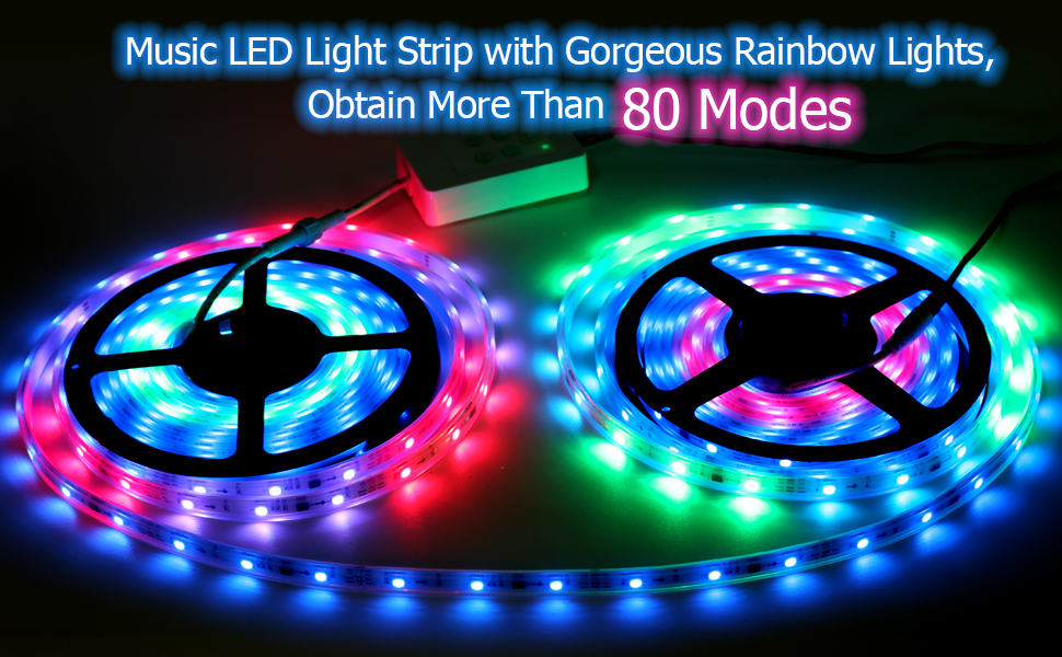 Amazon Com Led Strip Lights More Than 80 Kinds Of Modes Music Activated Rainbow Lights 32 8ft 10m Ip65 Waterproof Led Light Strip 5050 Rgb Led Strip With Rf Controller By Dotstone Home Improvement