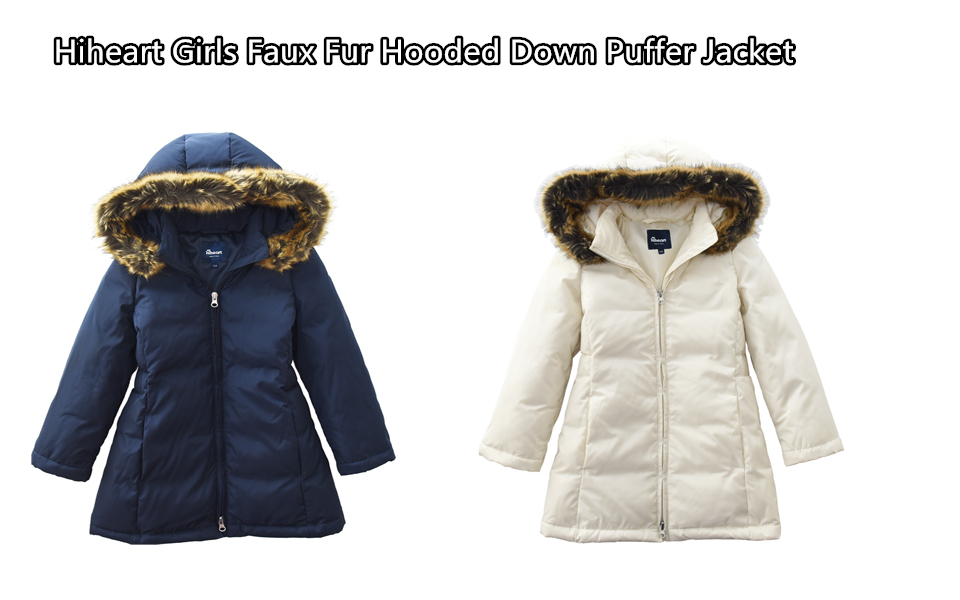 2343d3db9 Hiheart Girls Faux Fur Hooded Down Puffer Jacket Winter Thick Coat