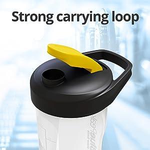 carrying loop portable shaker bottle blender protein