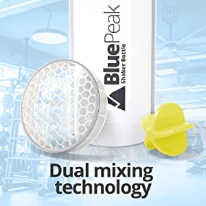 bluepeak dual mixing technology grid shaker ball protein supplements juice water bottle