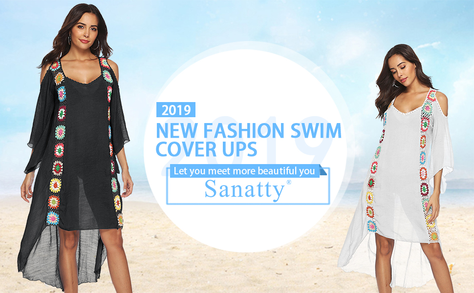 3b9216e388 sanatty Women Bathing Suit Cover Ups Swimsuit Coverups Dress Cotton ...