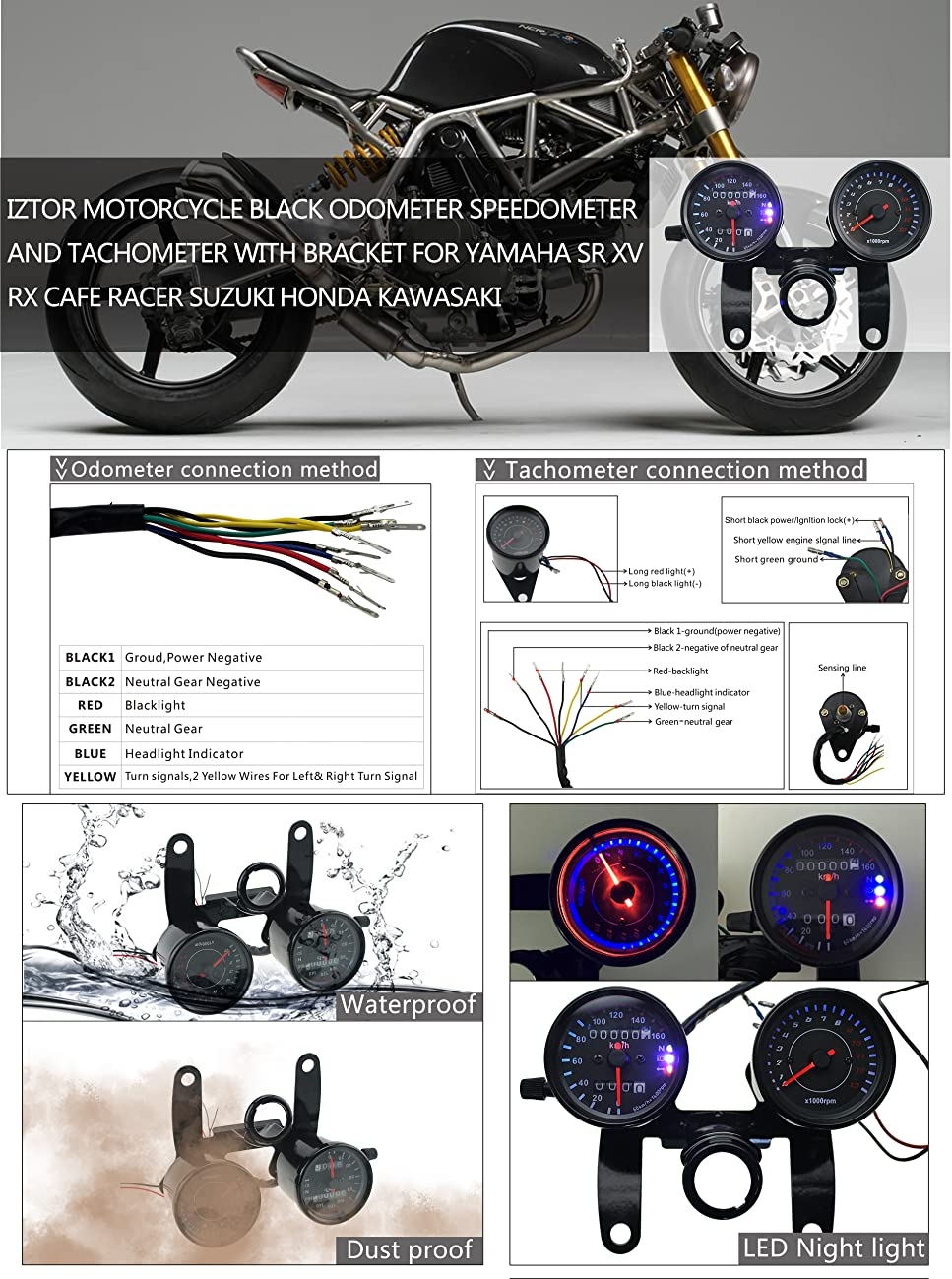 Iztor Motorcycle Black Odometer Speedometer And Wiring Diagram For Led Indicators Product Description