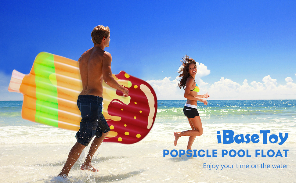 iBaseToy Inflatable Pool Toys Float 200x 90cm Ice Cream Inflatable Floating Raft PVC Giant Popsicle Pool Lounger Air Mattress Blow Up Beach Toy for Kids Adults Summer Holiday Party