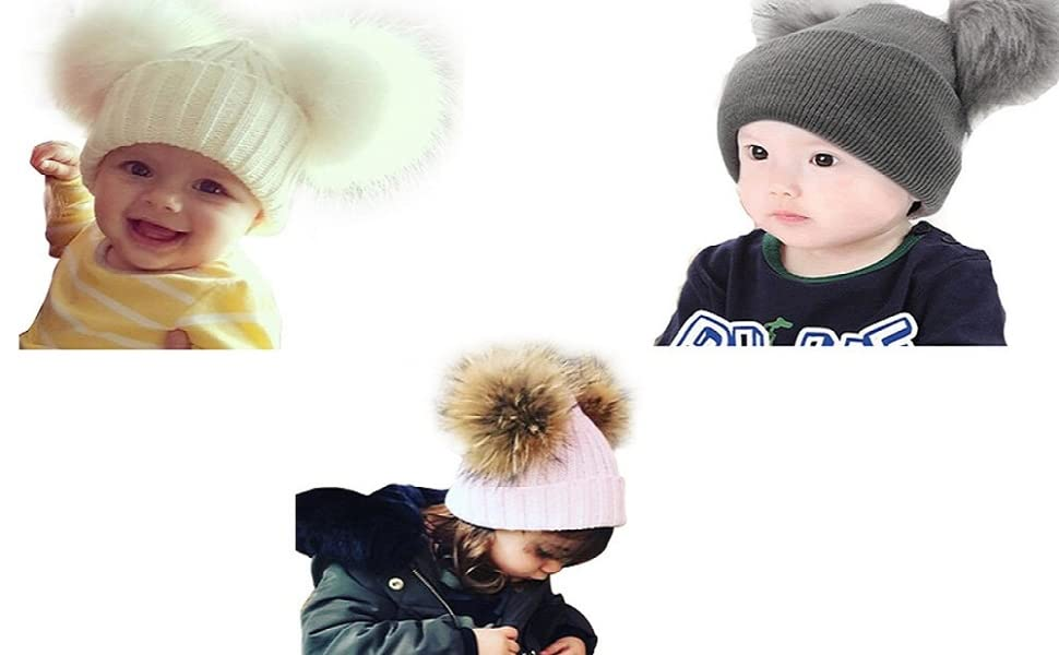 eb07d4085 MIOIM Toddler Baby Knit Hat Winter Warm Beanie Cap with Pom Pom Crochet Hat