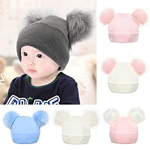 Imported From Abroad Cartoon Bear Children Warm Winter Caps Fur Pompom Beanie Hats For Kids 2017 Wool Knitted Boys Girls Pom Pom Hat Skullies Bonnet Hats & Caps Boys' Clothing
