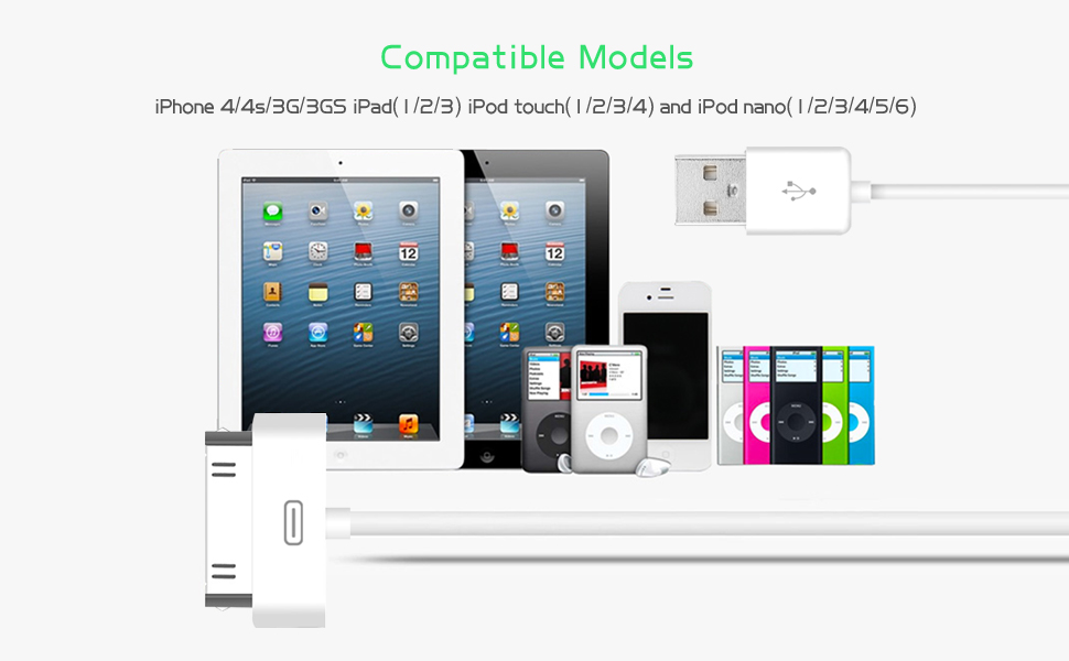 iPod Nano iPad 1 // 2 // 3 50 Pack iPod Touch 10/' Cable for iPhone 4S // 4