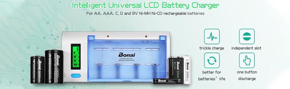 Amazon.com: BONAI 10000 mAh D celdas baterías recargables, 4 ...
