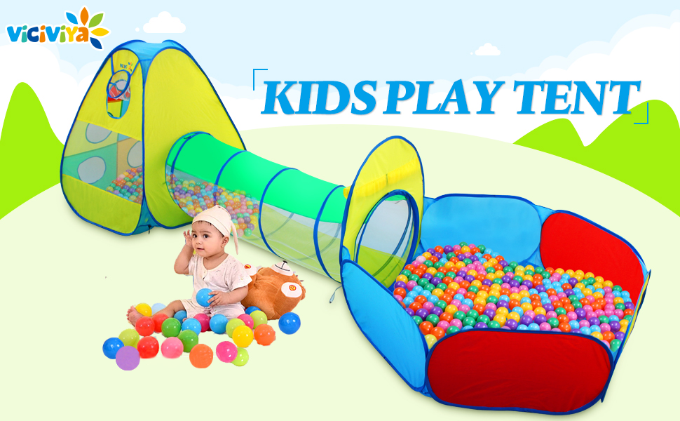 Watch your children have hours of fun with this cheerful Play House Tent Tunnel! Just let it pop up and your little one will love to make memories with this ...  sc 1 st  Amazon.com & Amazon.com: Viciviya Kids Play Tent with Tunnel and Ball Pit 3 in ...