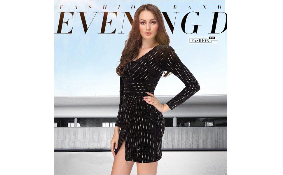 BeneGreat Women's Long Sleeves V Neck Mini Bodycon