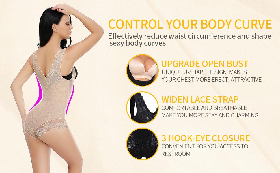 7c6d32d8f5d full body shaper bodysuit flat tummy control high waist trainer women  slimming shapewear butt lifter