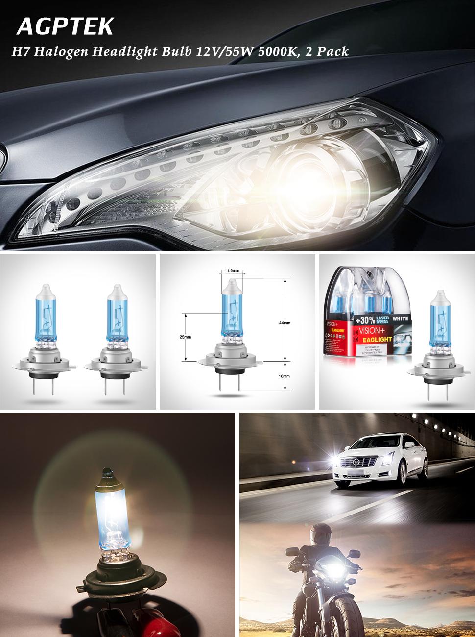 Amazon Com Agptek H7 Halogen Headlight Bulb 12v 55w 5000k