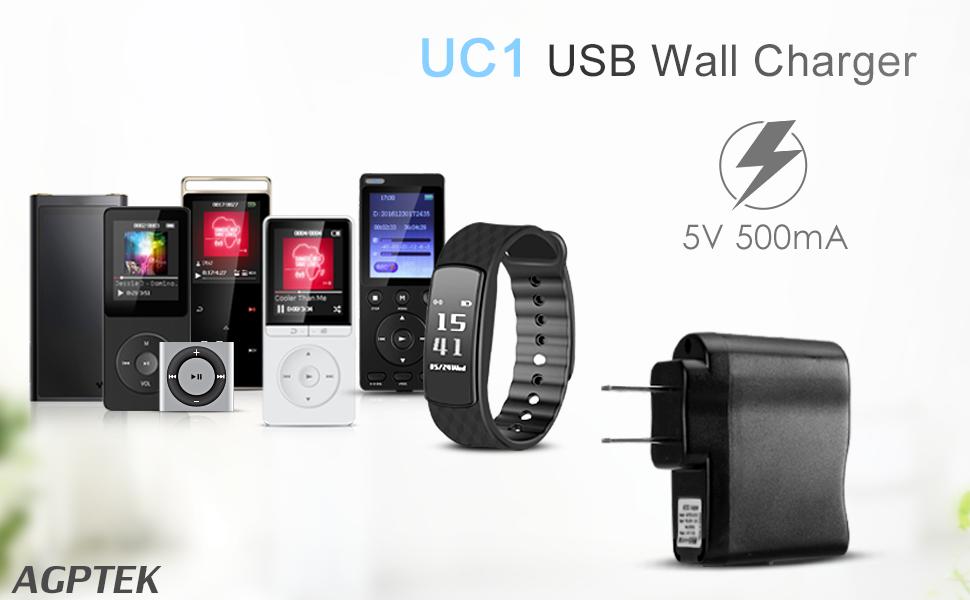 AGPTEK USB Wall Charger 5V 500mA for iPod, Sony, Walkmam, SanDisk MP3 MP4  Player, Fitness Tracker, Fitbit, Black