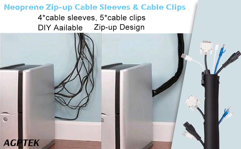 Amazon.com: AGPTEK Cable Sleeve Kit, Neoprene Cable Sleeves Zipper ...