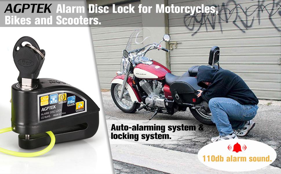 MysBiker Disc Brake Lock Anti Theft Motorcycle Motorbike Alarm Disc Lock 110dB