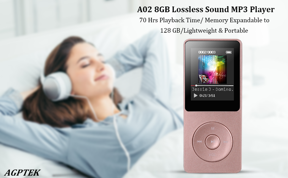 AGPTEK 8GB MP3 Player with FM Radio, Voice Recorder,Music Player 70 Hours  Playback & Supports up to 128GB, Rose Gold, A02