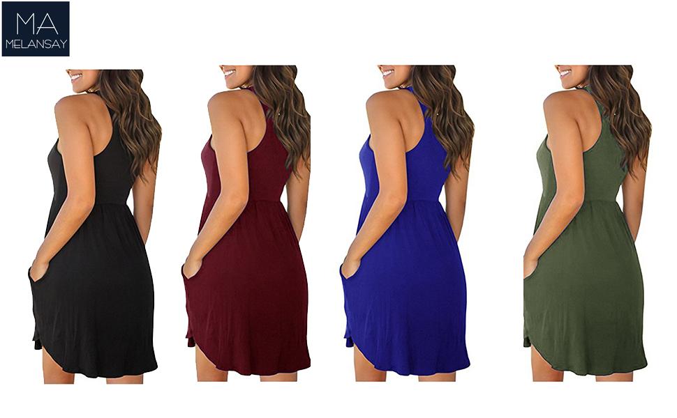 9afffaecb08b MELANSAY. Melansay Women s Sleeveless Racerback Loose T Shirt Dress Casual  Summer Dresses with Pockets. Racerback dress. Racerback dresses for women