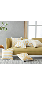 Yellow Pillow Covers 18 x 18