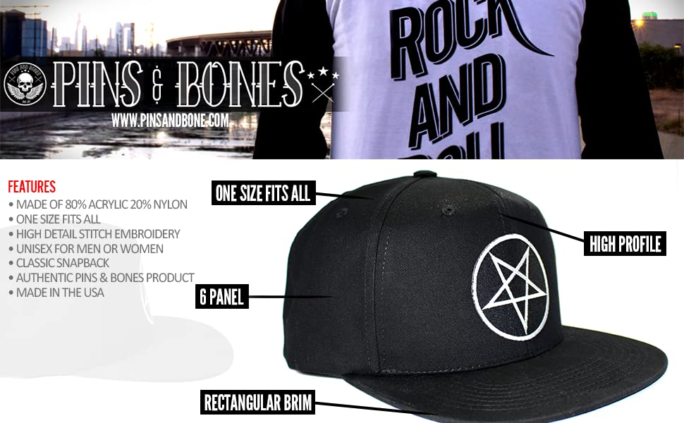 fa8cecd703442 Pins   Bones Pentagram Wool Blend Snapback Hat