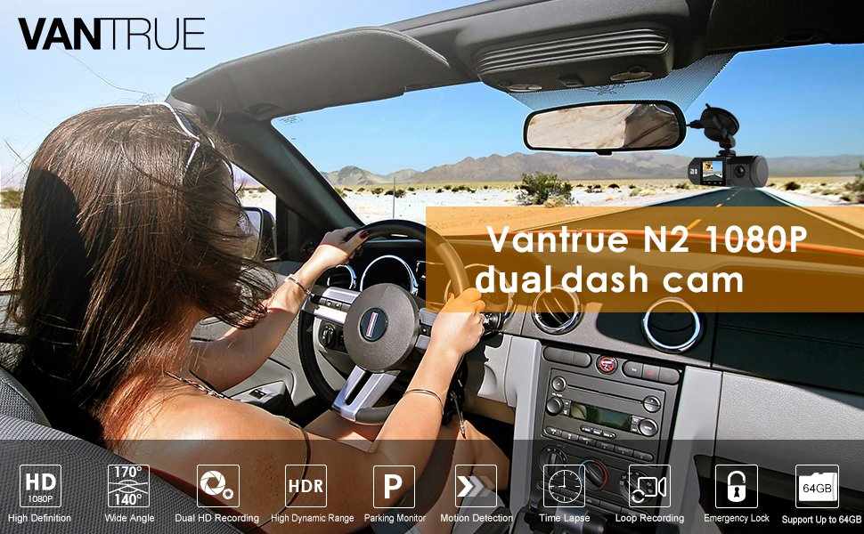 Vantrue N2 Uber Dual Dash Cam-1080P Inside and Outside Dash Camera for Cars  1 5