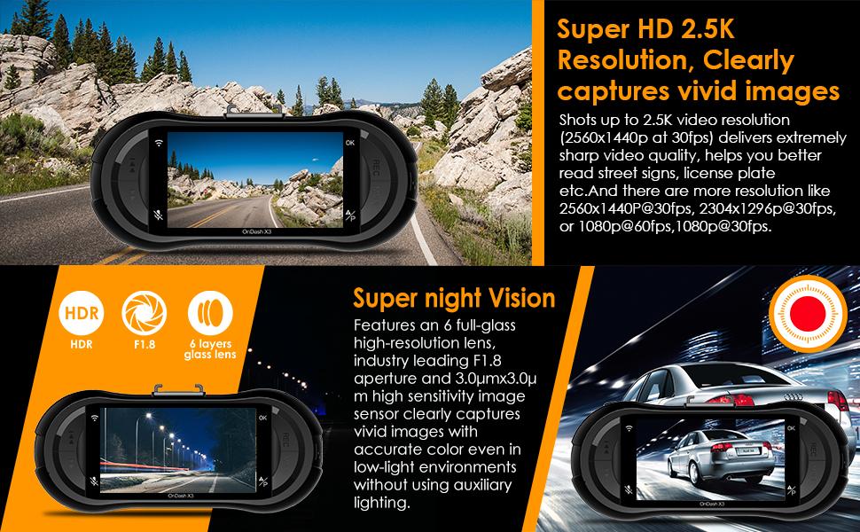 Vantrue X3 Dash Cam 2 5K 2560 X 1440P WiFi Car Dash Camera Iphone
