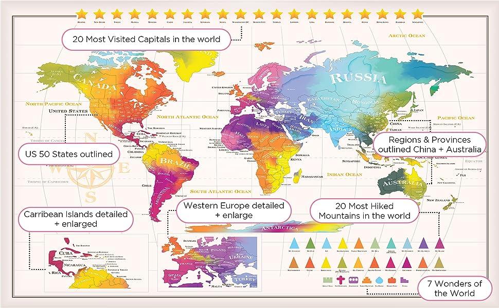 Amazoncom Extra Large Scratch Off World Map US States - Amazon us map