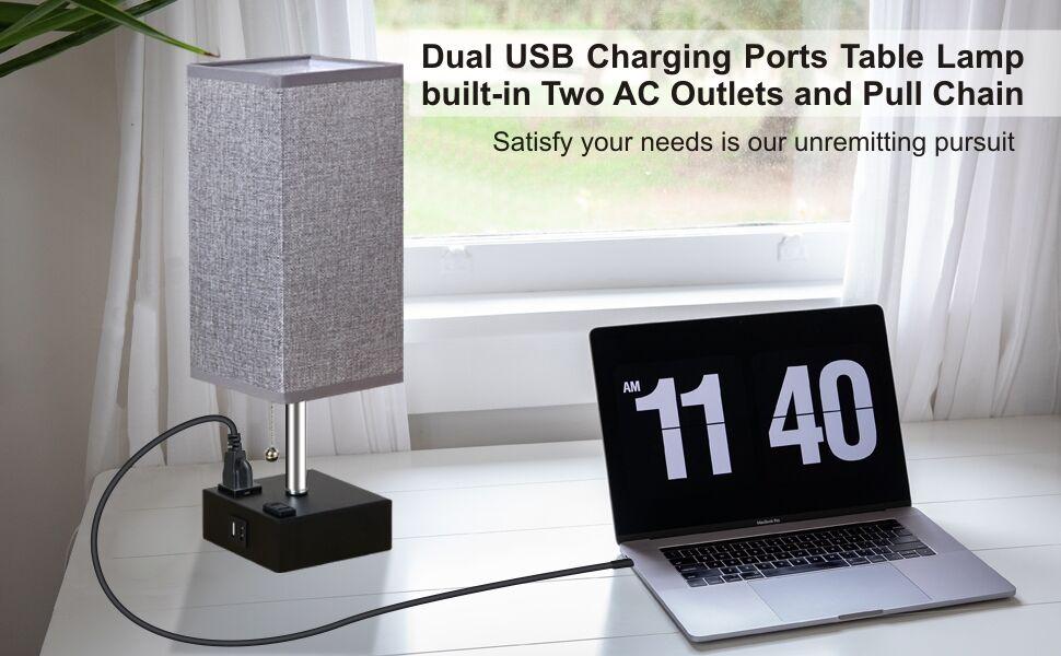 USB Ports table lamp