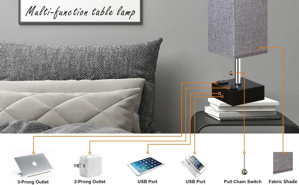 Dual usb ports table lamp