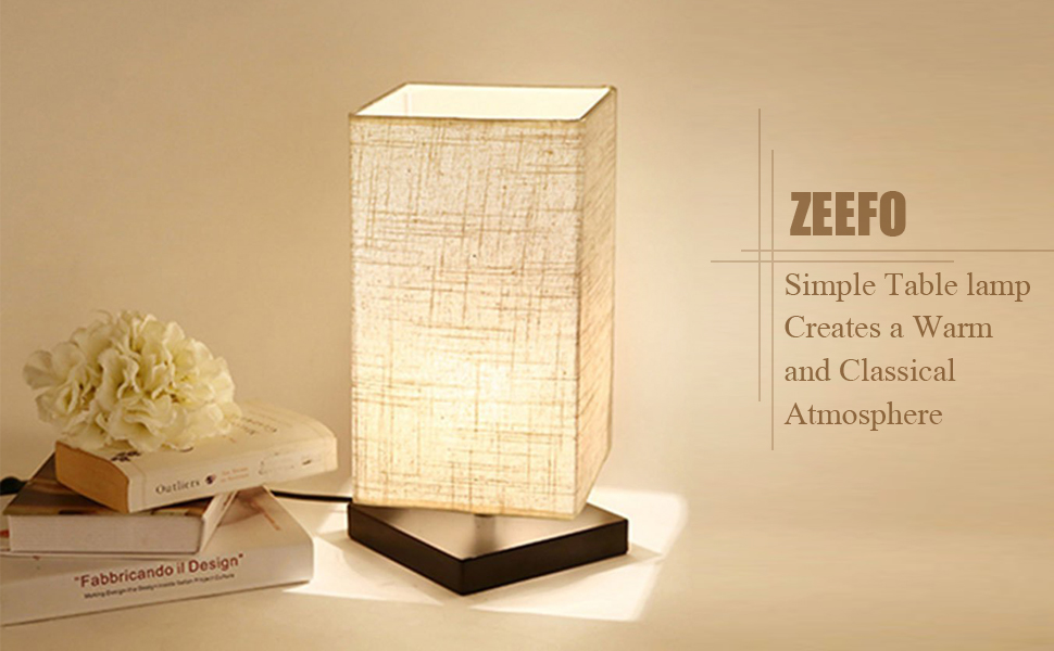 Are you still looking for a table lamp to decorate your Bedroom, Living  Room, Study, College Dorm ,Baby Room, Bookcase , Office? - ZEEFO Simple Table Lamp Bedside Desk Lamp With Fabric Shade And